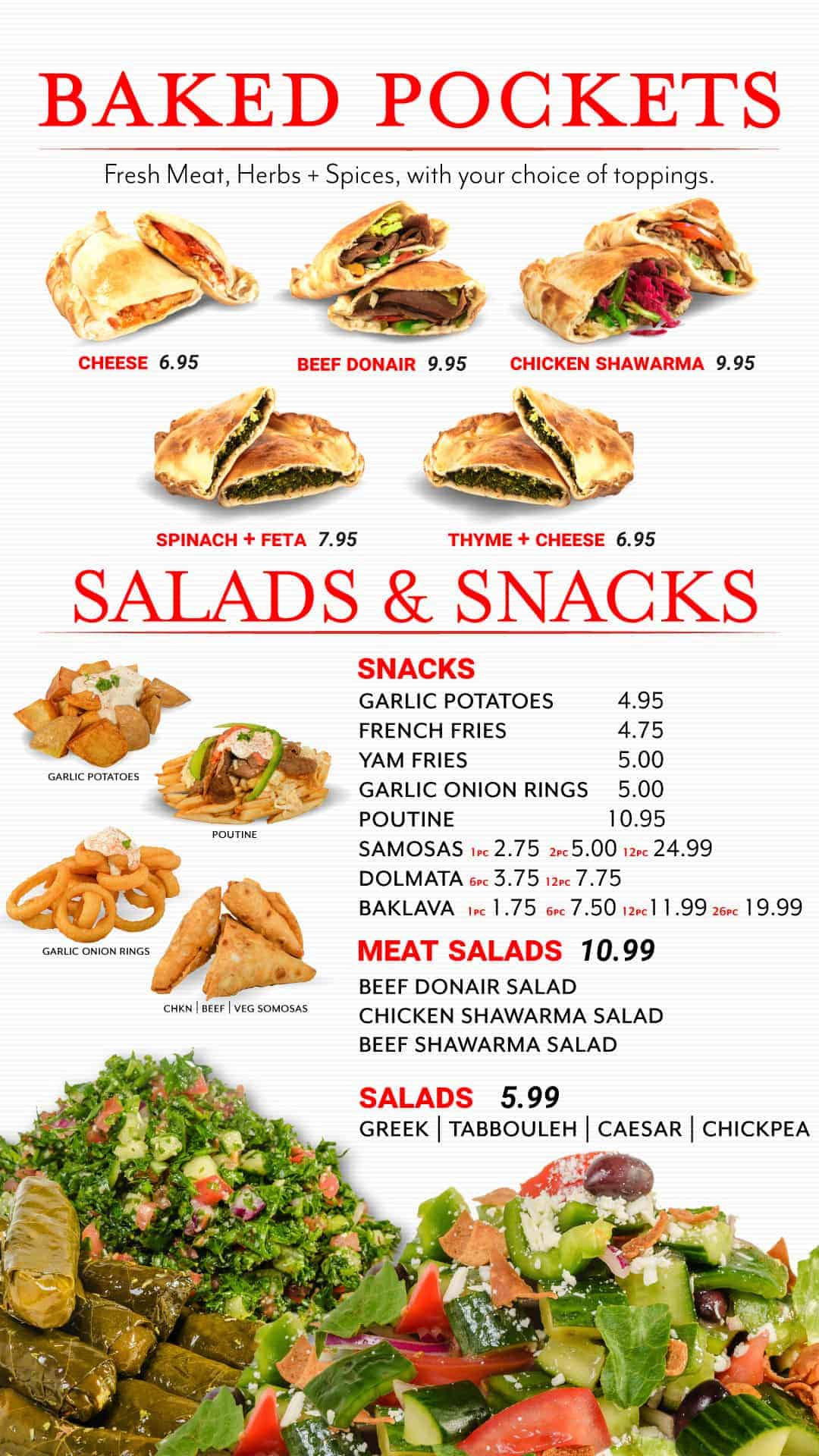Snacks and Pockets Menu